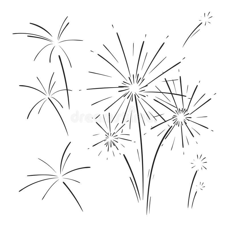 Utdragen uppsättning för hand av fyrverkerier vektor illustrationer
