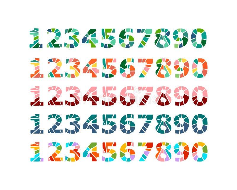 Utdragen uppsättning för hand av nummer i minimalism för mosaikstiltecknad film stock illustrationer