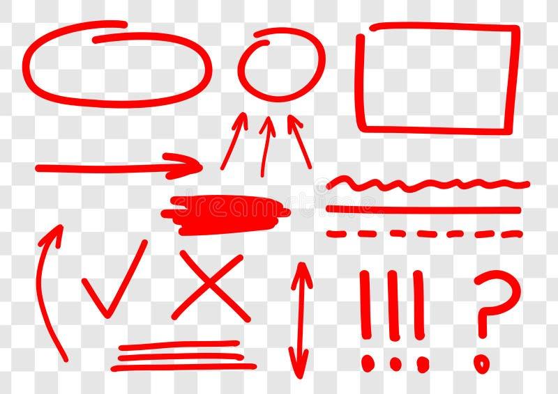 Utdragen uppsättning för hand av röda fläckar för vektor, pilar, ingles, linjer, rättelser och korrigeringar Röd markörlinje stock illustrationer