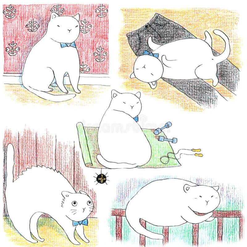 Utdragen uppsättning för hand av roliga lata vita katter royaltyfri illustrationer