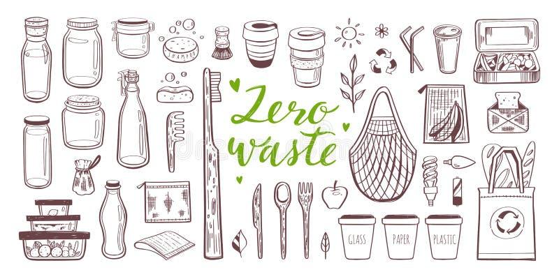 Utdragen uppsättning för nollförlorad livsstilvektorhand Samling av eco och naturliga beståndsdelar begreppet går green vektor illustrationer