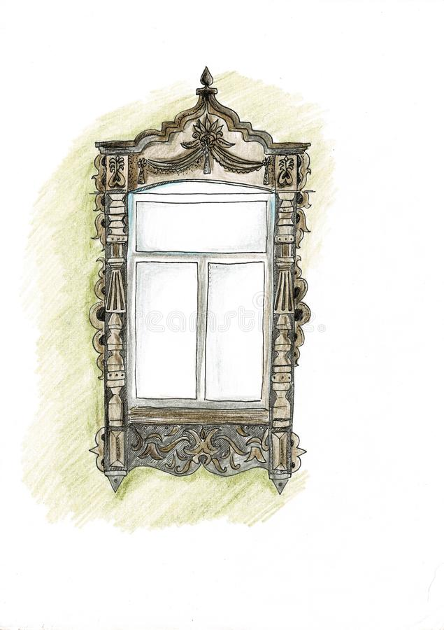Utdragen uppsättning för tappningfönsterhand av rasterteckningar stock illustrationer