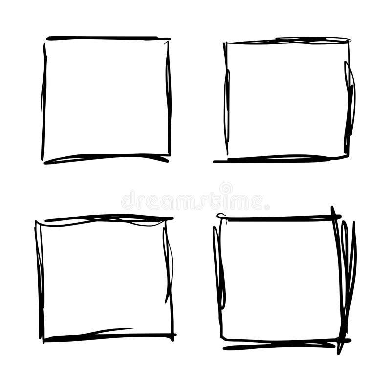 Utdragen upps?ttning f?r fyrkantig hand vektor illustrationer