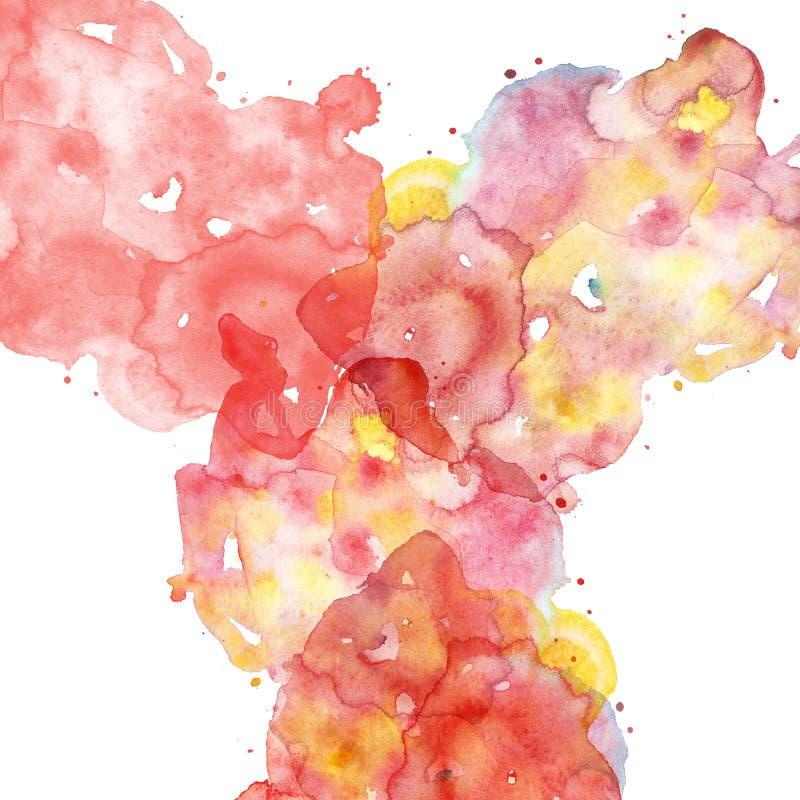 Utdragen vätskemångfärgad textur för hand med rött, stiftet, korall och gula färgstänk av målarfärg Efterföljd av moln, smoge ell royaltyfria foton