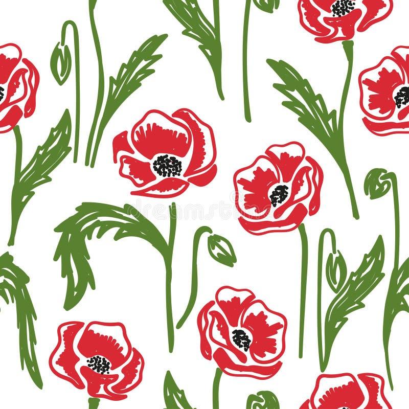 Utdragen vallmomodell f?r s?ml?s hand den blom- bakgrundsdesignen anv?nder idealt den din vektorn royaltyfri illustrationer