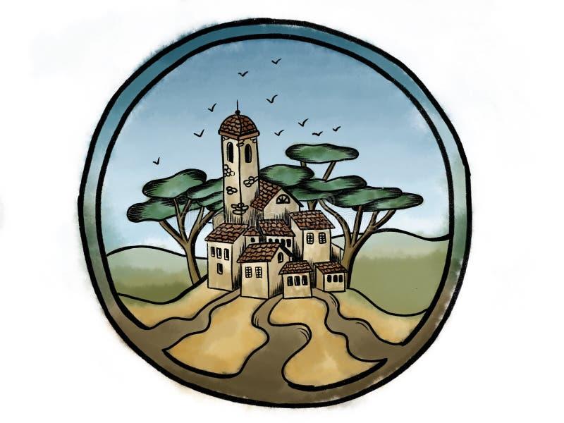 Utdragen vattenfärgbild för hand av den italienska staden för land med tegelstennolla vektor illustrationer