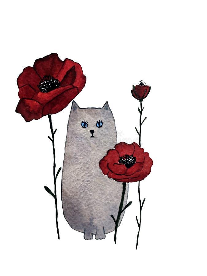 Utdragen vattenfärgillustration för hand av den gråa katten med röda blommor royaltyfri illustrationer