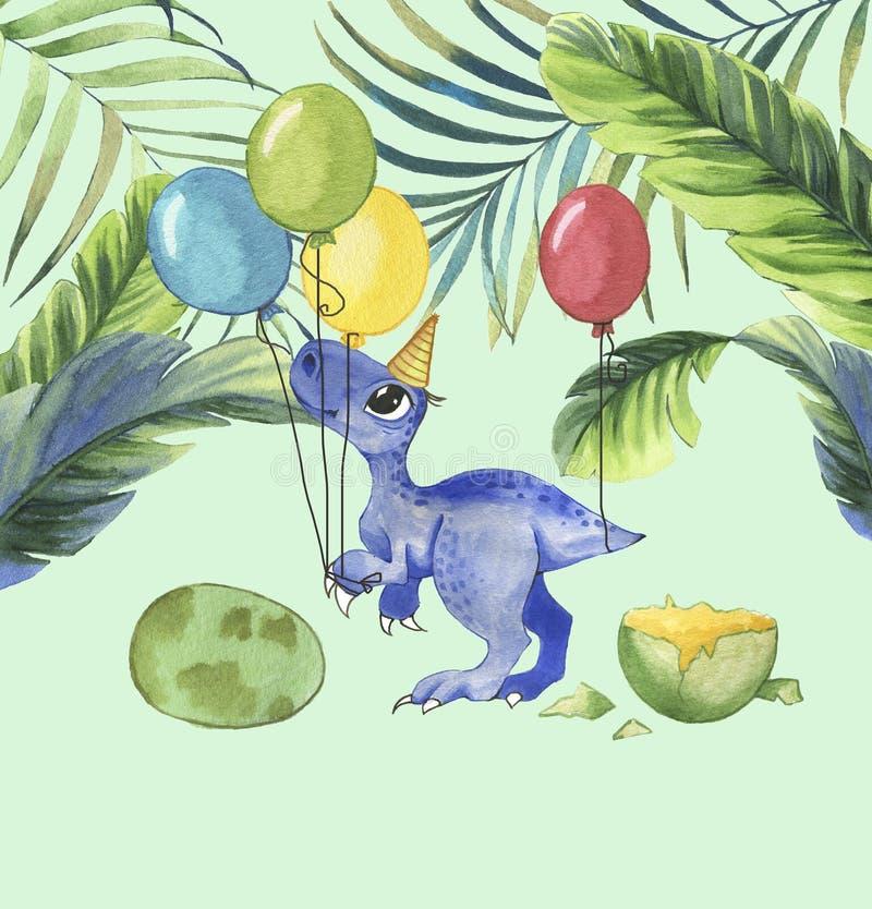 Utdragen vattenfärgillustration för hand av den gulliga tecknad filmdinosaurien med färgrika ballonger och tropiska sidor royaltyfri illustrationer
