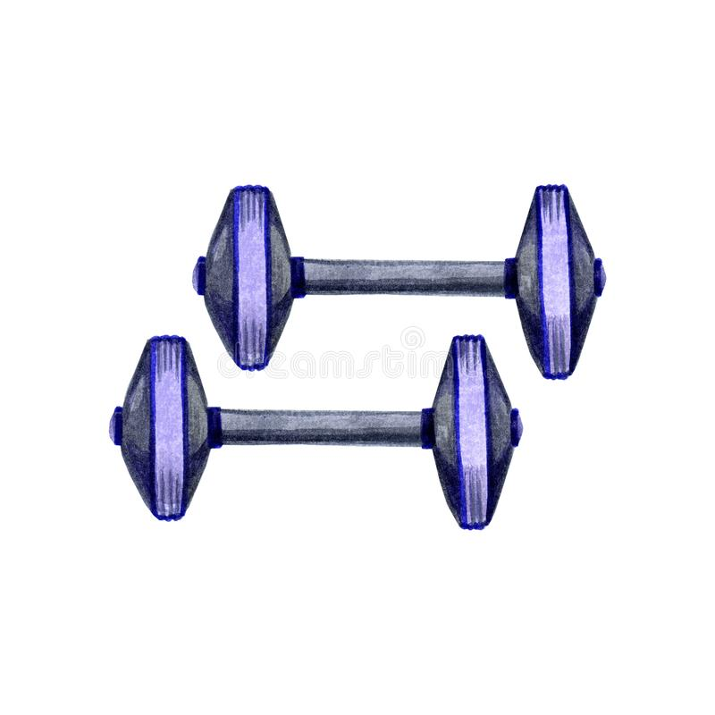 Utdragen vattenfärgillustration för hand av gråa och violetta sporthantlar för kondition för gymnastik på vit bakgrund royaltyfri foto