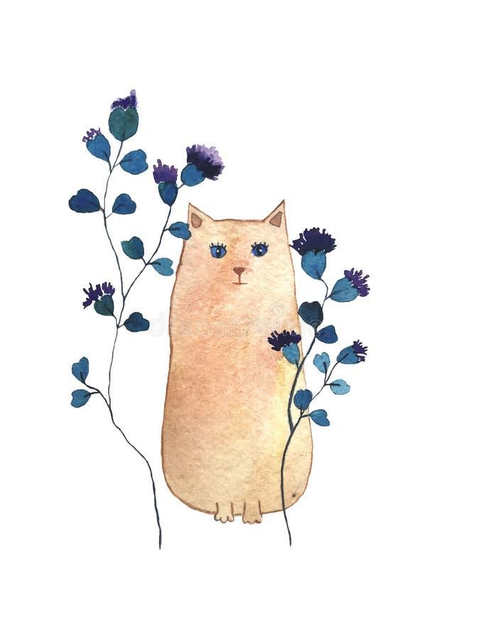 Utdragen vattenfärgillustration för hand av katten med voiletblommor vektor illustrationer