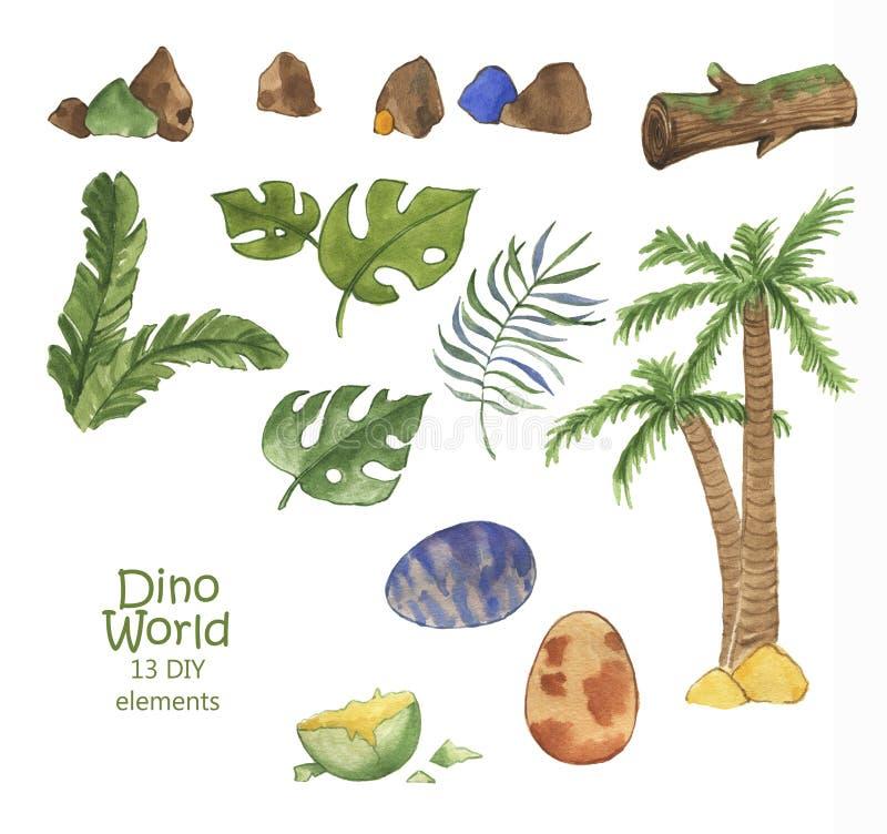 Utdragen vattenfärgsamling för hand av dino världsbeståndsdelar: Gräs blad, sten, trä, växt, träd, ägg royaltyfri illustrationer