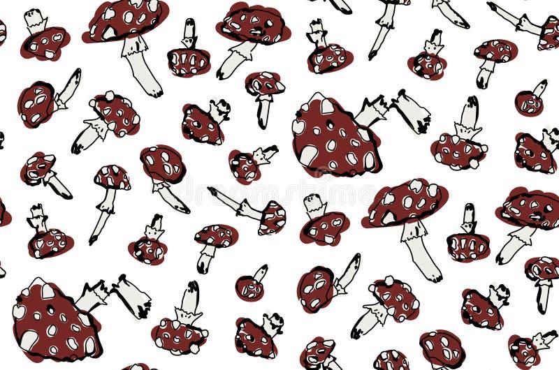 Utdragen vektorillustration för hand av champinjoner stock illustrationer
