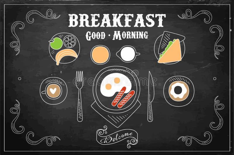Utdragen vektorillustration för hand av den smakliga frukosten på den svarta svart tavlan Ägg med korvar, söt munk, kaffekopp vektor illustrationer
