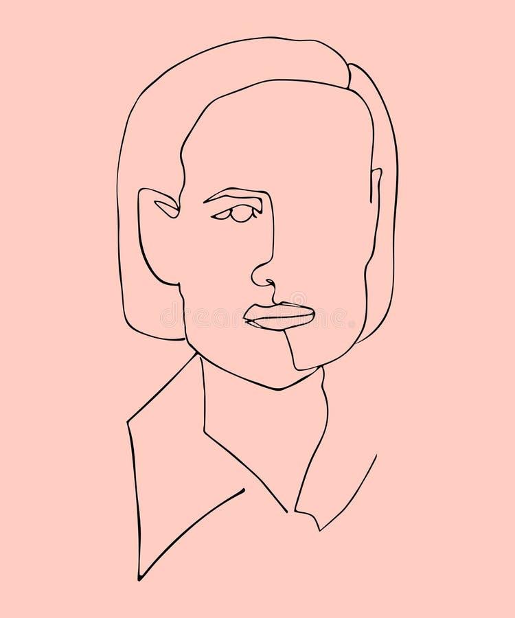 Utdragen vektorillustration för hand av konturkvinnaframsidan En fortlöpande linje vektor illustrationer