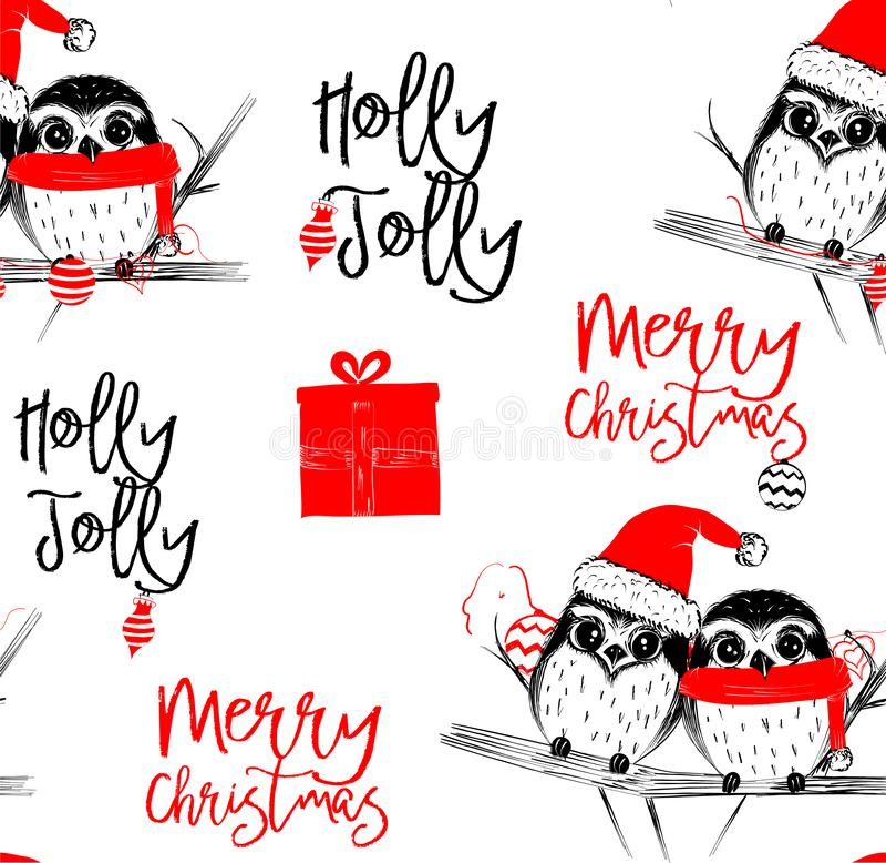 Utdragen vektorillustration för hand med två gulliga ugglor fira att fira glad jul - sömlös modell stock illustrationer