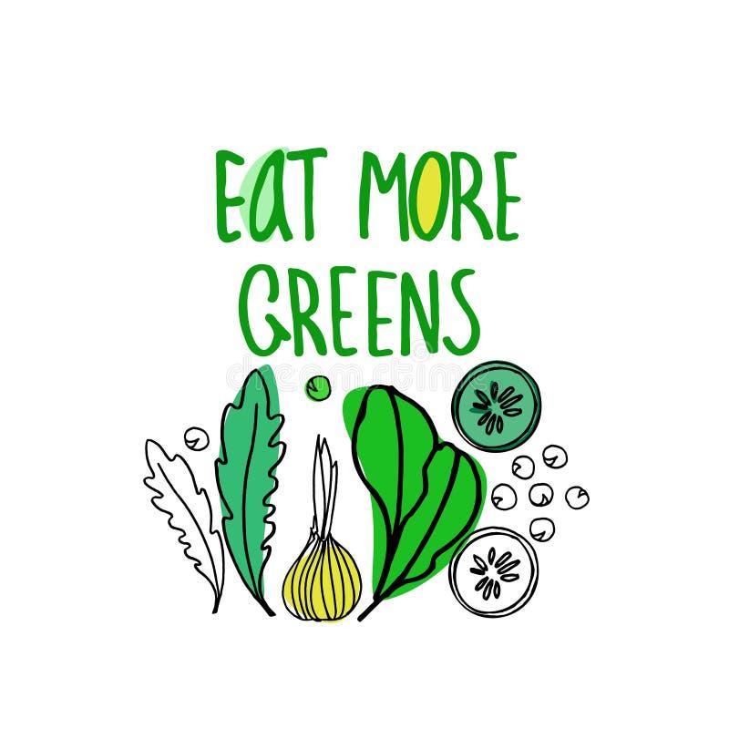 Utdragen vektorillustration för hand för sund näringpopularisering, strikt vegetarianrestauranger och lantgårdmarknadsbefordran vektor illustrationer