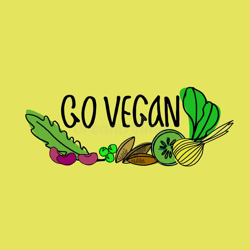 Utdragen vektorillustration för hand för veganismpopularisering, strikt vegetarianrestauranger och lantgårdmarknadsbefordran stock illustrationer