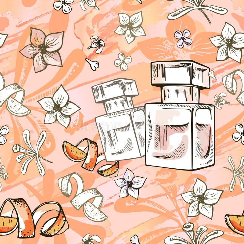 Utdragen vektormodell för sömlös hand med doftflaskan och blommor Virvelstil Illstaration stock illustrationer