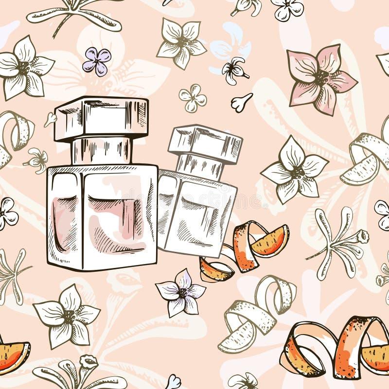 Utdragen vektormodell för sömlös hand med doftflaskan och blommor Virvelstil Illstaration royaltyfri illustrationer
