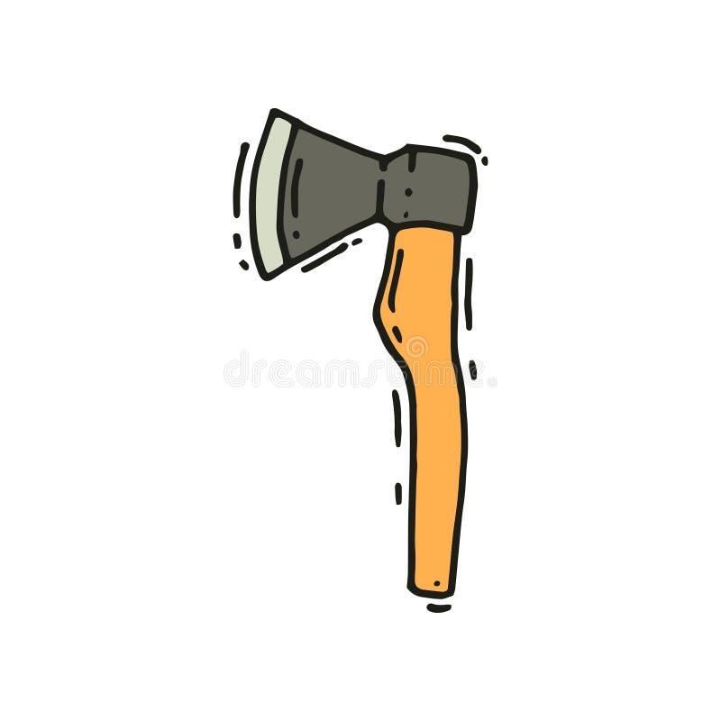 Utdragen vektorsymbol för hand av yxan campa utrustning Hjälpmedel för att hugga av trä Utomhus- läger, turism stock illustrationer