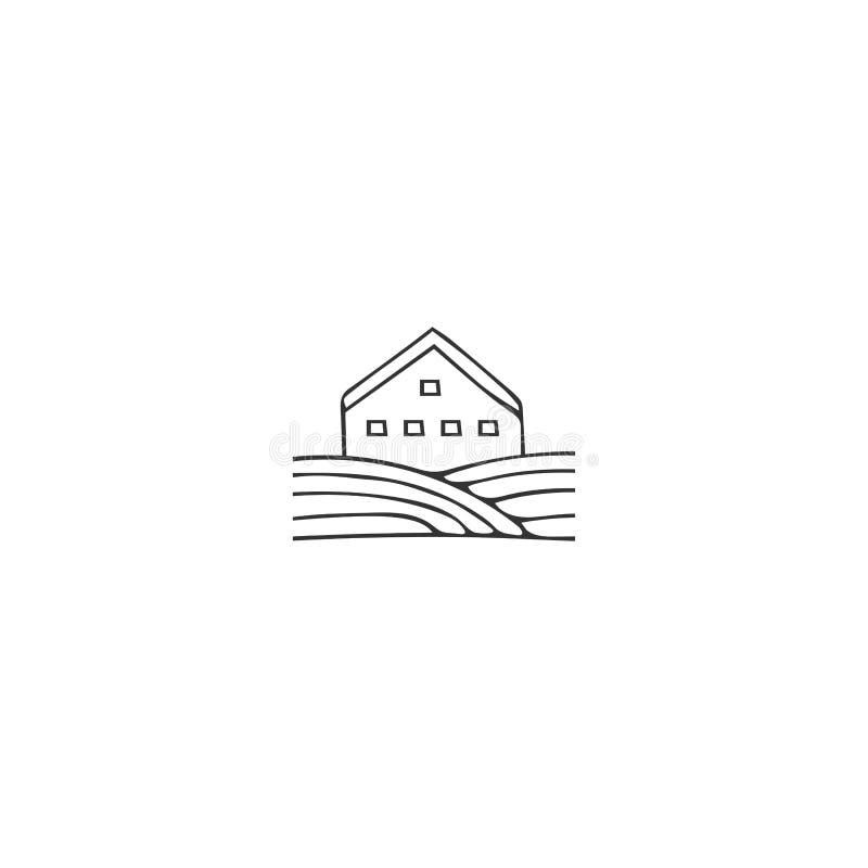Utdragen vektorsymbol för hand, ett landshus Uthyrnings- tema för egenskap vektor illustrationer