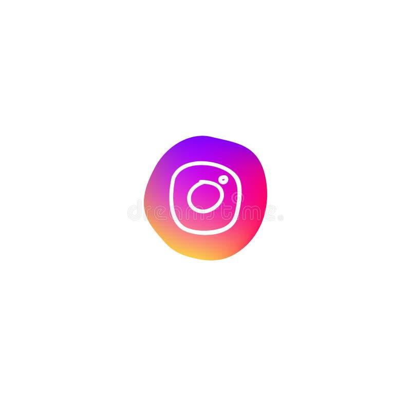 Utdragen vit kamerasymbol för hand som ett symbol av det moderna sociala massmedianätverket stock illustrationer