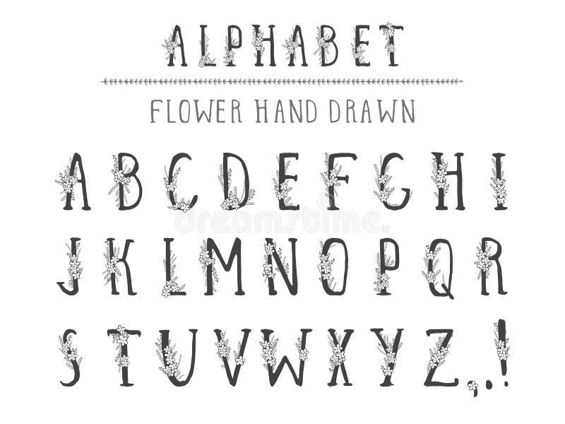 Utdraget alfabet för vektorhand i stilgrunge Isolerat på vit vektor illustrationer