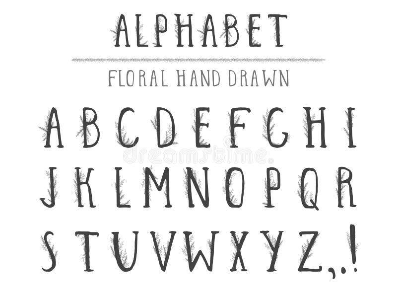 Utdraget alfabet för vektorhand i stilgrunge med blom- beståndsdelar Isolerat på vit royaltyfri illustrationer