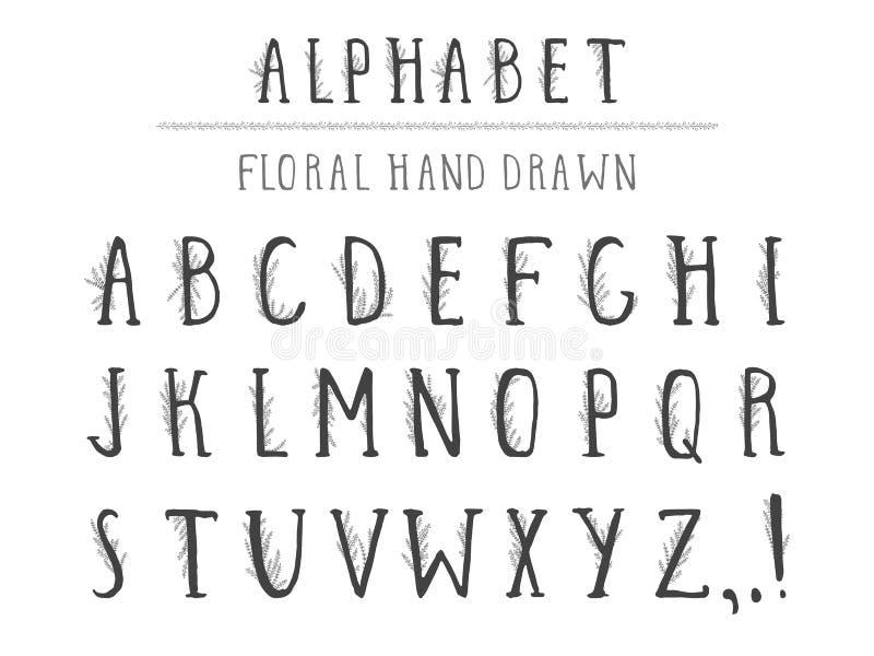 Utdraget alfabet för vektorhand i stilgrunge med blom- beståndsdelar Isolerat på vit vektor illustrationer