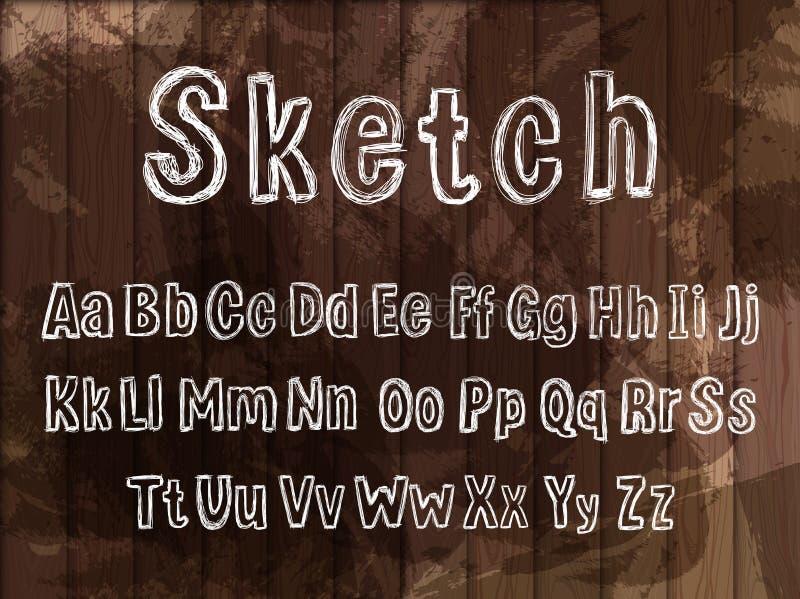 Utdraget alfabet för vektorkritahand på mörk träbakgrund, stilsortsmall vektor illustrationer