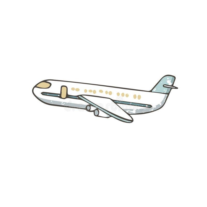 Utdraget flygplan för hand Tecknad filmflygbussillustration, grungestiltextur på vit bakgrund, isolerad gemkonst royaltyfri illustrationer