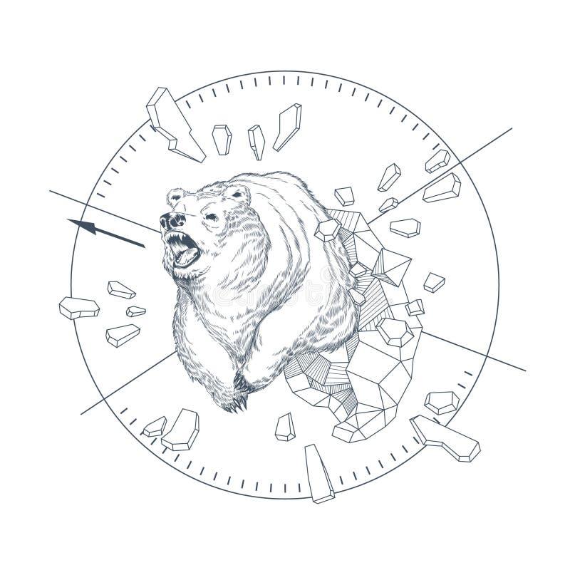 Utdraget grafiskt emblem för vektorhand med den lösa björnen royaltyfri illustrationer