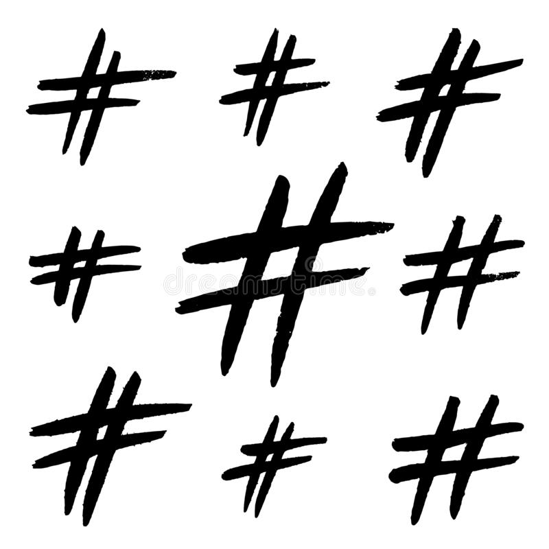 Utdraget hashtagtecken för hand som isoleras på vit bakgrund Moderiktigt grungekommunikationstecken för logo, blogg, socialt nätv royaltyfri illustrationer