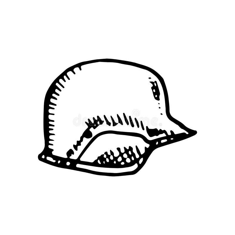 Utdraget hjälmklotter för hand Skissa stilsymbolen Militär garneringbeståndsdel bakgrund isolerad white Plan design vektor stock illustrationer