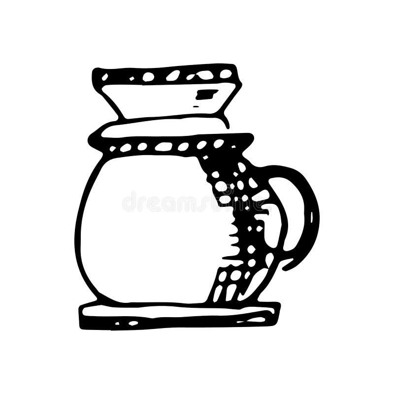 Utdraget kaffebryggareklotter för hand Skissa stilsymbolen Taget i Genua, Italien bakgrund isolerad white Plan design vektor royaltyfri illustrationer