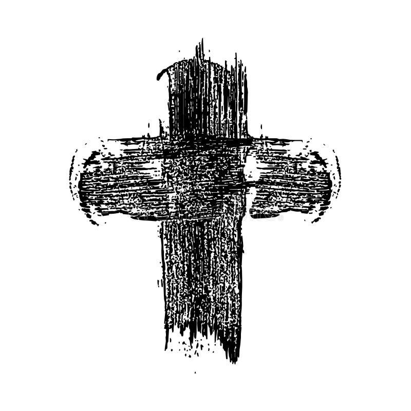 Utdraget kristet kors för hand i grungestil Designbeståndsdel för affischen, hälsningkort, baner, reklamblad vektor illustrationer