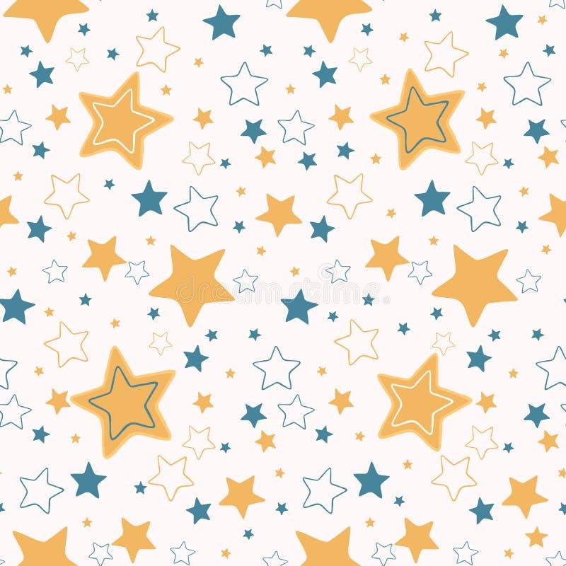Utdraget sömlöst för gullig för vektortecknad film stjärnklar hand för himmel stock illustrationer