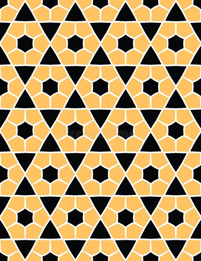 Utdraget sexhörningstäcke för djärv hand S?ml?s bakgrund f?r vektormodell Geometrisk abstrakt illustration för symmetri Moderikti stock illustrationer