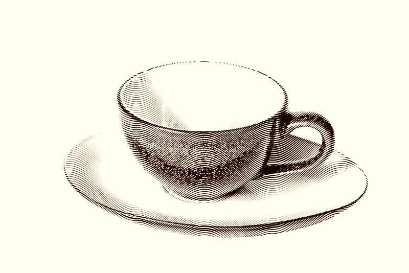 Utdraget skissa målningkaffekoppen royaltyfri illustrationer