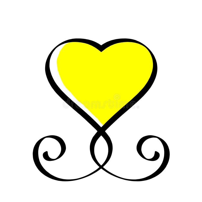 Utdraget tecken för svart och gul hjärtaförälskelsehand Romantisk illustration för tappningkalligrafivektor Concepn symbolssymbol royaltyfri illustrationer