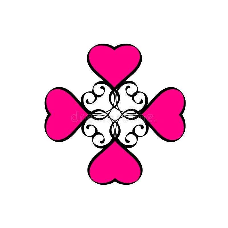 Utdraget tecken för svart rosa hjärtaförälskelsehand Illustration för raster för kalligrafi för ram för romantiska tappninghjärto royaltyfri illustrationer