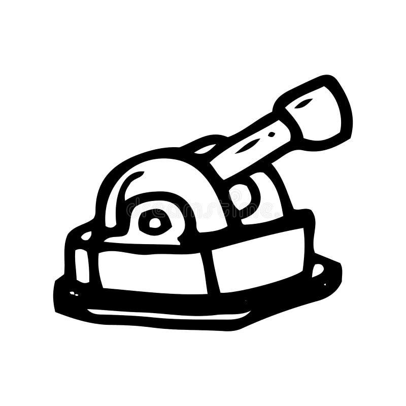 Utdraget teleskopklotter f?r hand Skissa stilsymbolen Taget i Genua, Italien bakgrund isolerad white Plan design ocks? vektor f?r royaltyfri illustrationer
