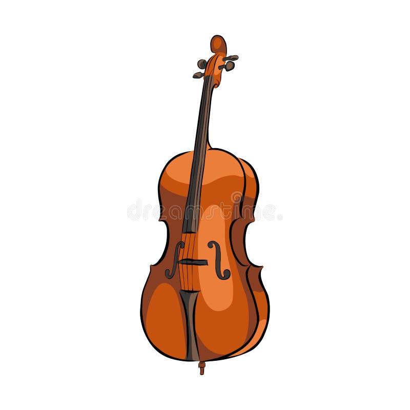 Utdraget violoncellmusikinstrument för hand vektor illustrationer