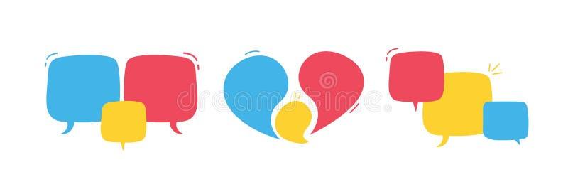 Utdragna abstrakta geometriska bubblor för moderiktig hand Vektorklotterbanret ställde in för din text med olika färger Modern ma royaltyfri illustrationer