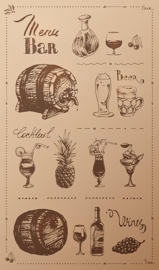 Utdragna alkoholdrycker för hand Retro menydesign stock illustrationer