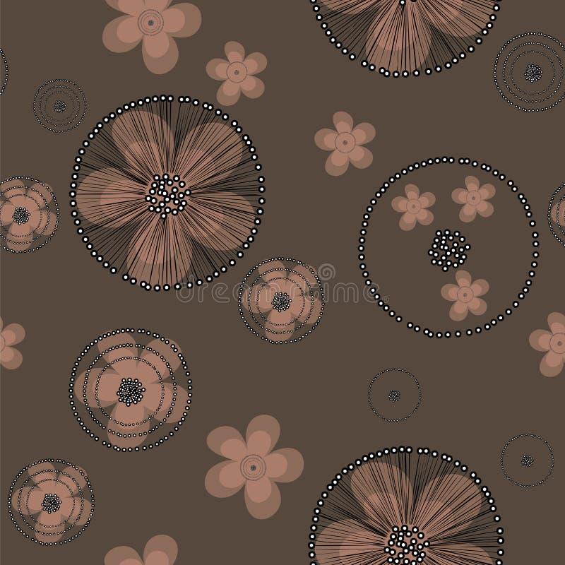 Utdragna beigea smörblommablommor för hand med den svarta spindelnätet på brun backgroud royaltyfri illustrationer