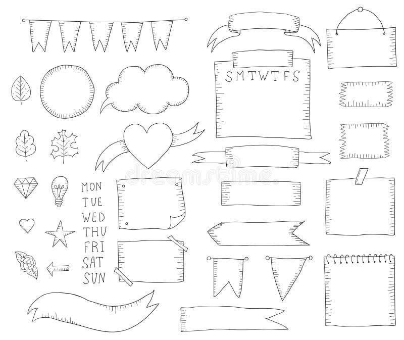 Utdragna beståndsdelar för kultidskriftshand för anteckningsbok royaltyfri illustrationer