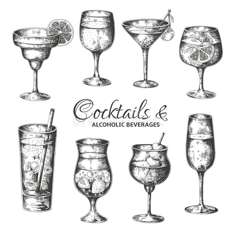 Utdragna coctailar f?r hand Tappningexponeringsglas med starksprit och alkoholdrycker, sommar dricker skissar menyn Tropisk vekto vektor illustrationer