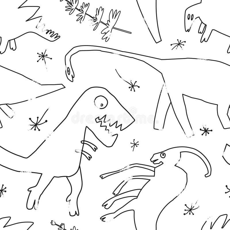 Utdragna dinosaurier för hand och relictväxter Dino för rolig klottertecknad film sömlös modell vektor illustrationer