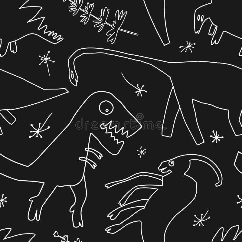 Utdragna dinosaurier för hand och relictväxter Dino för rolig klottertecknad film sömlös modell royaltyfri illustrationer